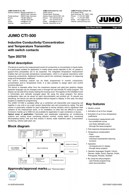 JUMO20.2755en-电导率变送器船级社证书
